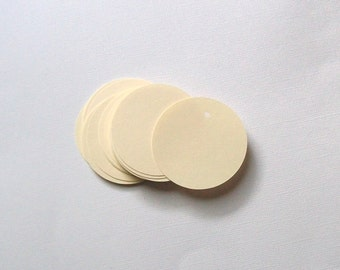 Round Die Cut Circle Tags with Holes - Ivory Card Stock Paper 2 inch (set of 40)