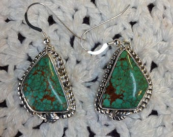Green Turquoise # 8 with Brown Matrix Earrings