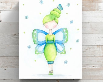 Butterfly Girl Watercolor Canvas Print - Blue & Green Art - Watercolor Whimsy Girl - Wrapped Canvas Print