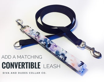 Fabric Dog Leash, CONVERTIBLE Leash, Fabric Handle, Add a Matching Leash Your Choice of Fabric