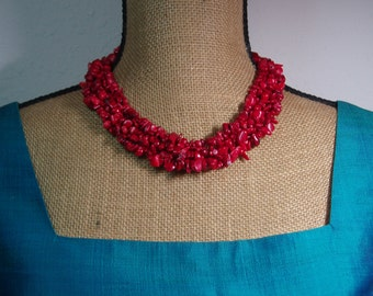 Natural Untreated AAA Grade Red Coral Band, Silver Clasp Necklace