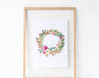 Floral Bloom Wreath Watercolor | Watercolor Print | Wreath Watercolor Print | Floral Bloom Wreath Print | Minimalist Art Print | Modern Art