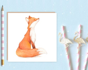 Fox Greeting Card - watercolour fox - blank greeting card - red fox - fox card - ideal for fox lovers