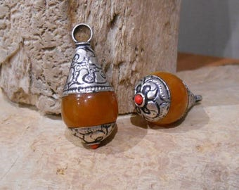 Tibetan style drop pendant beeswax