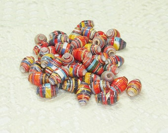Paper Beads, Loose Handmade Craft Supplies Jewelry Supplies Patriotic Fireworks
