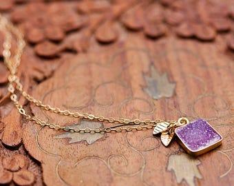 Violet Square Druzy Pendants Tiny Leaves Purple Gemstone Necklace Lilac Quartz Pendant Lavender Crystal Druzy Jewelry - N353