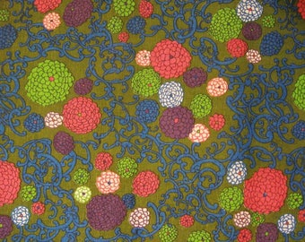 Vintage 1960s Retro Floral Fabric - One Yard - Large Multi Color Flowers