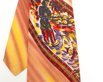 Original vintage 1940s swing tie - hand painted with a fisherman