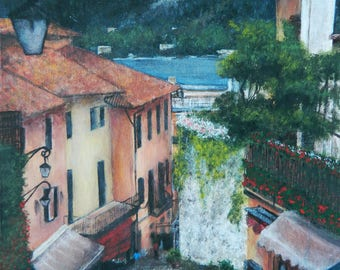 Italian Street Corner, Print of Original Acrylic Painting (8x10 or 11x14)
