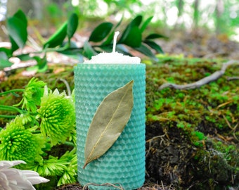 Bay Leaf Wish Candle~For Making Your Wishes Come True~Spell candle~Ritual Candle~Beeswax Candle~pillar candle~Witchcraft