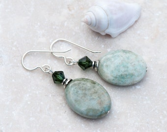 Green Moss Opal Earrings, Gray / Green Earrings, Natural Stone Earrings, Swarovski Crystals, Everyday Earrings, Sterling Silver