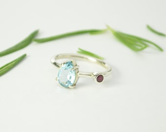 Aquamarine ruby silver ring. Engagement sterling silver. Dainty ring. Natural pear shape gemstone. Designers contemporary ring. Unique ring.