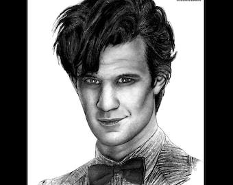 "Print 8x10"" - Dr Who - Matt Smith - Tardis Matt Smith Doctor Who Police Box Time Travel Whovian Pop Art Lowbrow Sci Fi Sonic Screwdriver"