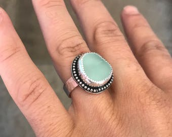 Light Teal Sea Glass Ring; Sterling Silver; Size 5 3/4; Boho
