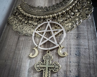 Gold tribal necklace Moon Crucifix 666 666