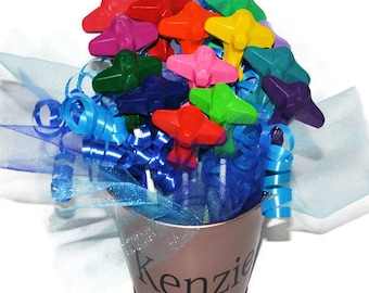 Crayon Bouquet,  Airplane Crayons, Airplane Party Centerpiece, 15 Airplane Crayons,  Airplane Favors, Personalized Tin Pail