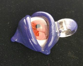 Small Handmade Glass Purple  Eye