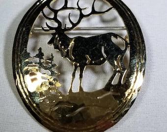 Vintage-Elk-Deer-Pin-Brooch-Gold-Jewelry-Accessories-Men's Accessories-Wild Byrd
