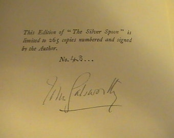 "Signed Limited Edition of ""The Silver Spoon"" 1926 Edition"