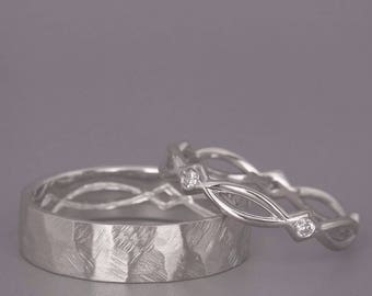 14K White Gold Eternity Wedding Rings set with Diamonds |Handmade 14k white gold celtic wedding Rings| His and Hers Wedding Bands Set