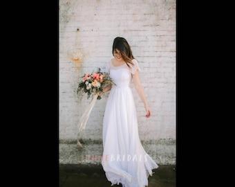 Country Boho/Indie Scoop Neck Cap Sleeve chiffon Wedding Dress SIZE 8