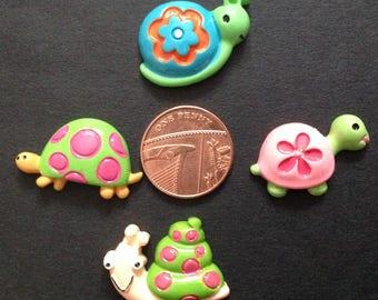 Resin Flatback Tortoise and Snail Embellishments 8pcs (2 of each)