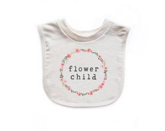 "Organic ""Flower Child"" Unbleached Bib"
