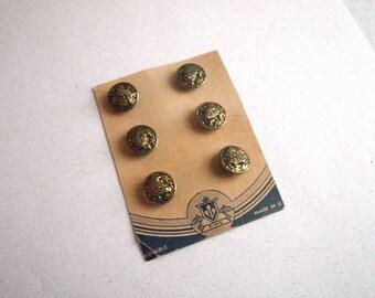 """Grape Bunch Brass Metal Buttons - Set of Six - 15mm 5/8"""" Diameter - Darkened Gold Patina"""