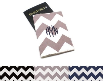 Monogrammed chevron passport cover, case, holder. Choose your colors: Black, Gray or Navy. Travel gift idea, personalized gift under 20