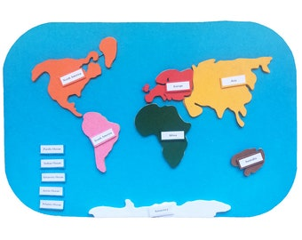 Montessori felt map, continents of the world, Montessori learning tool. Felt map with continents and oceans labels