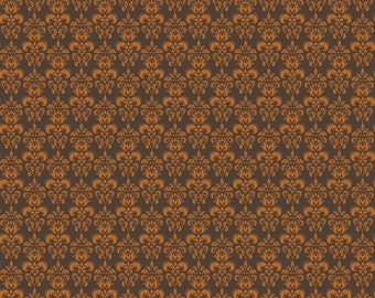 CLEARANCE Orange and Brown Small Damask