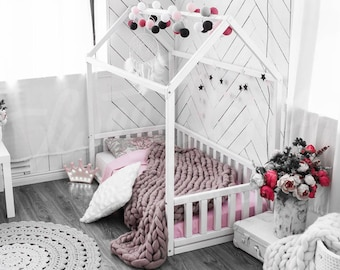 House bed Children bed Toddler bed Kids teepee Wood house Baby bed Montessori toys Children bedroom bed house Tent Gift Nursery bed SLATS