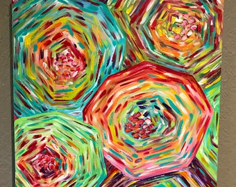 24 x 24 floral painting/ colorful abstract painting/ bright flowers/ home decor
