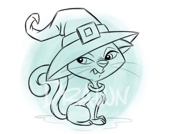 Witch Cat, Halloween Image, Digital Stamp/ KopyKake Image/ Coloring Book Image- F5-WITCHCAT