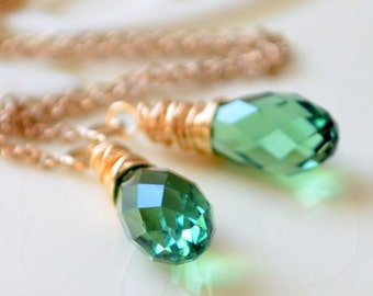 Crystal Threader Earrings, Genuine Swarovski Teardrop, Erinite Green, Cable Chain, Delicate Sterling Silver or Gold Filled Jewelry