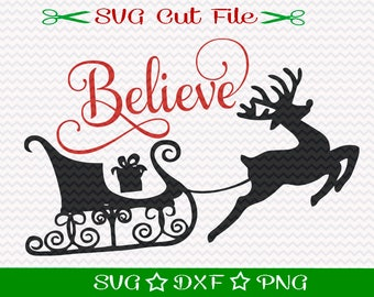 Believe Svg File, Christmas SVG File, SVG Cut File for Silhouette, Xmas SVG, Happy Holidays svg, Merry Christmas svg