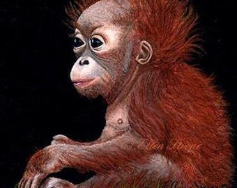 CARD, Orangutan, Baby, Note Card, Blank Cards, Orangutan Decor, Monkeys, Orange, Black, Baby Orangutans
