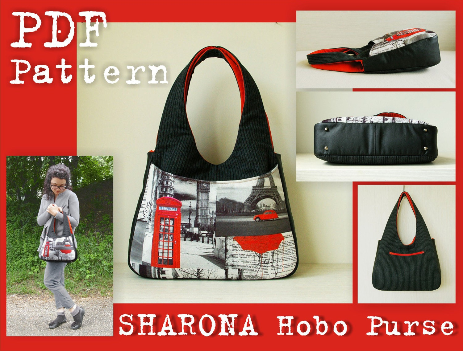 Pdf sewing pattern to make sharona hobo purse bag instant zoom jeuxipadfo Image collections