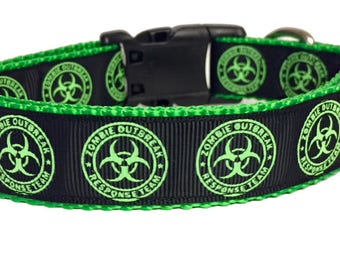 Hazard Zombies Outbreak Glow in the dark Dog Collar