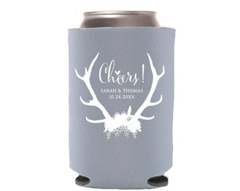 Wedding Favors with Antlers and Flowers, Personalized Can Coolers, Beer Sleeves, Can Sleeves, Can Coolers, Blue Can Cooler - T321