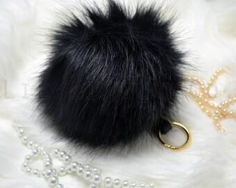 Black Oversize XXL pom pom keychain fur ball faux fur vegan friendly winter christmas gift charm beanie stocking stuffer style luxury