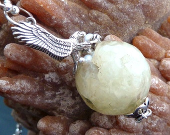 Eagle Nest with Eggs necklace pendant Prehnite orb pearls n sterling silver eagles OOAK jewelry