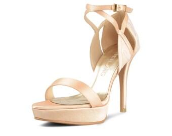 Champagne Gold Lace Wedding Shoes, Gold Satin Evening Platform Heel, Lace Bridal Shoe