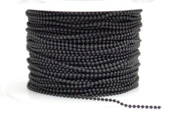 1mm Ball Chain - Midnight Black - CH131 - Choose Your Length