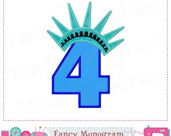 Liberty crown Number 4 applique,Statue of Freedom,My 4th Birthday,Liberty crown applique,4,4th of July.