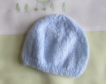 "Bonnet/hat ""newborn"" baby blue sky - handmade knitting"