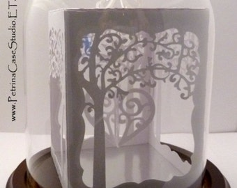 Love Wedding Anniversary - Paper Sculpture -Gazebo Box Under Glass Dome - You put your wishes in or Business Card Sculpture. Design NO. 1212