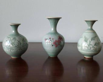 3 Celadon Mini Bud Vases/Set, New, China