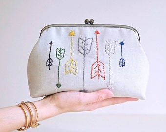 Kiss Lock Purse with Embroidered Colorful Arrows on Linen, Hand Stitched, Gifts for Her, Ready To Ship