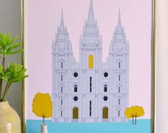 Modern Salt Lake LDS Temple Illustration 11x17